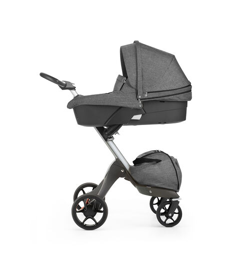 Stokke® Xplory® with Carry Cot, Black Melange. New wheels 2016.
