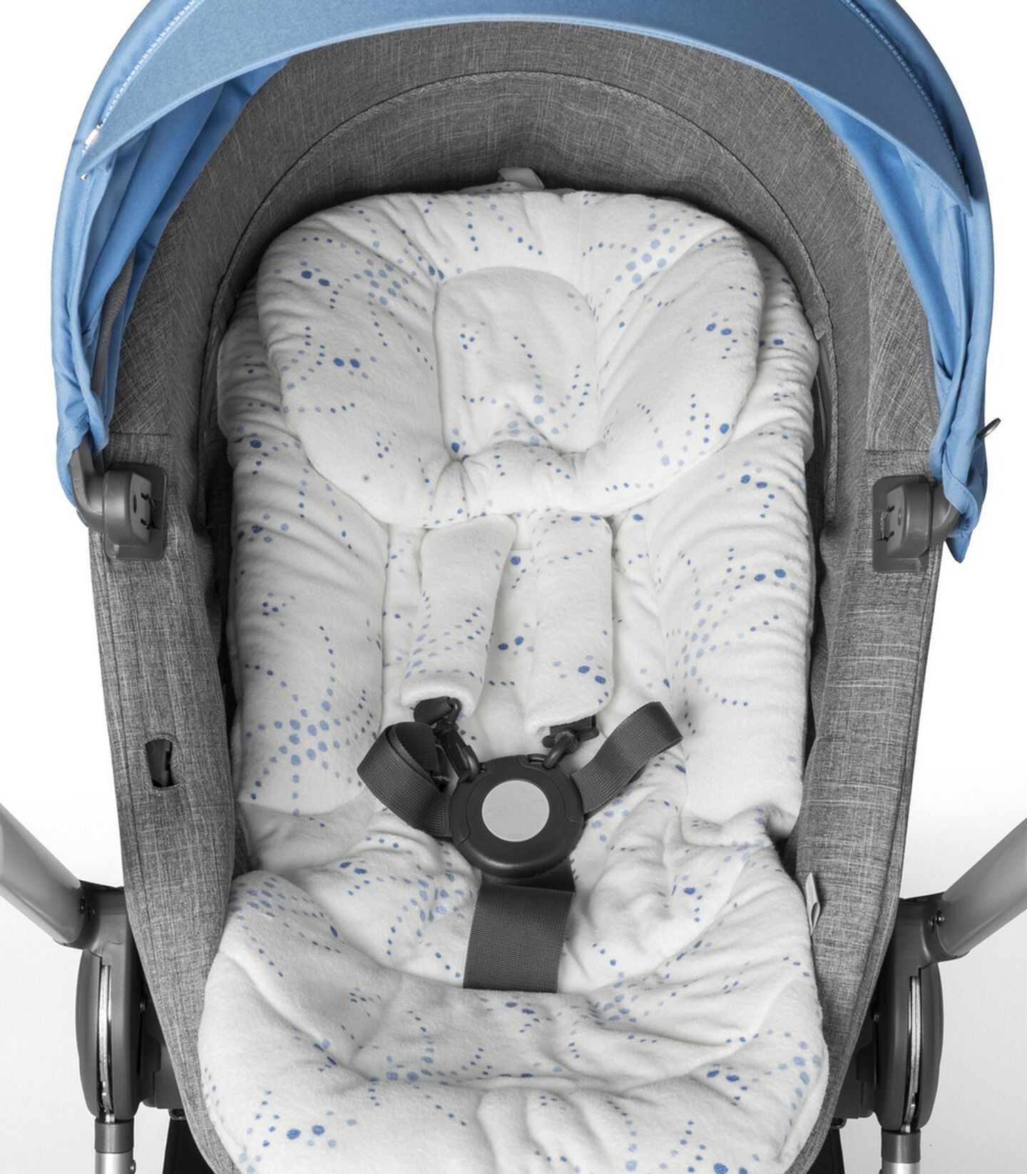 Stokke Scoot™ Seat Black Melange/Blue with Seat Inlay. Detail.