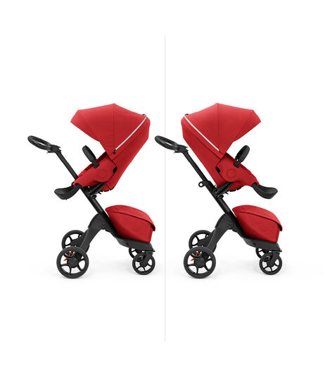 Stokke® Xplory X with seat, Ruby Red. Parent and forward facing. view 6