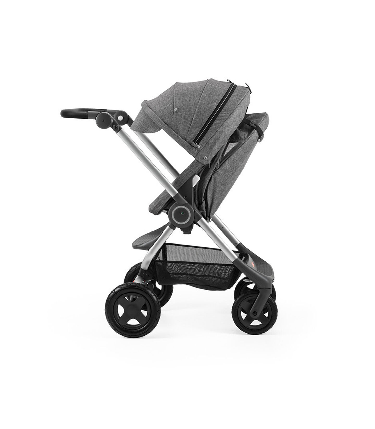 Stokke® Scoot™ Black Melange with Black Melange Canopy. Parent facing, rest position.