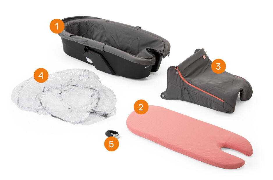 Stokke® Xplory® Athleisure Carry Cot. Items included.