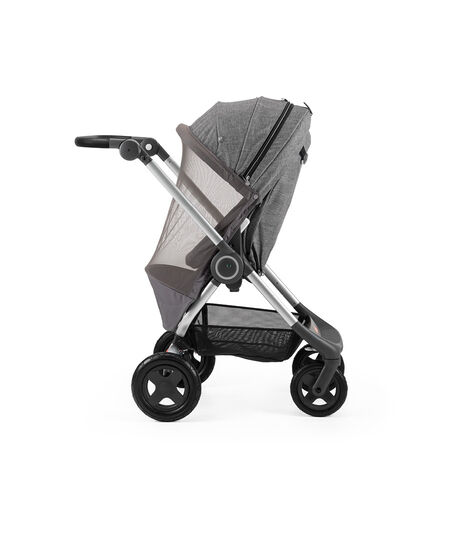 Stokke® Scoot™ Black Melange. Parent facing, active position. Mosquito net.