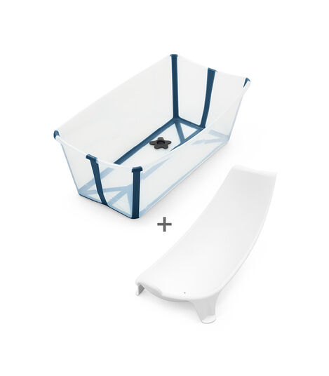 Stokke® Flexi Bath® Bundle - Bath Tub and Newborn Support, Transparent Blue.