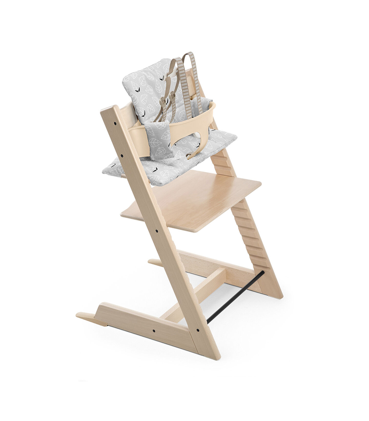 Tripp Trapp® Natural with Tripp Trapp® Baby Set, Natural and CushionGrey Leaf. US version.