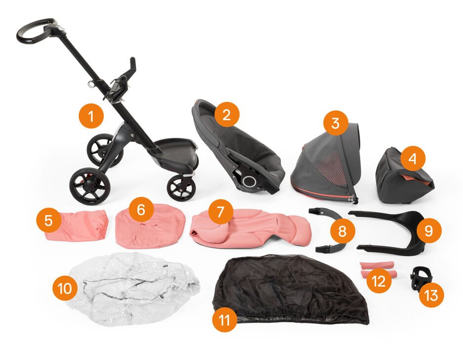 Stokke® Xplory® Athleisure complete. Items included.