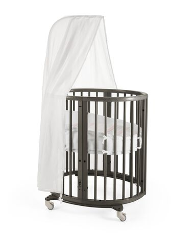 Stokke® Sleepi Mini, Hazy Grey. Canopy, Bumper and Fitted Sheet Coral Straw.