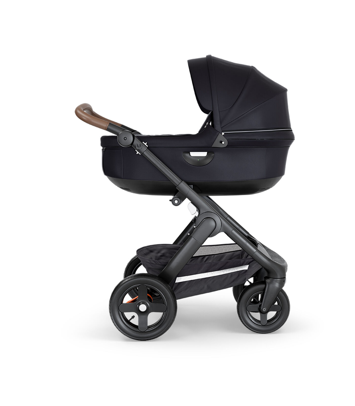 Stokke® Trailz™ with Black Chassis, Brown Leatherette and Terrain Wheels. Stokke® Stroller Carry Cot, Black.