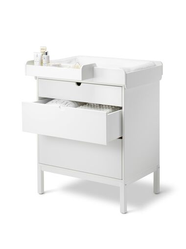 Stokke® Home™ Dresser, White. With Changer and Storage Box.