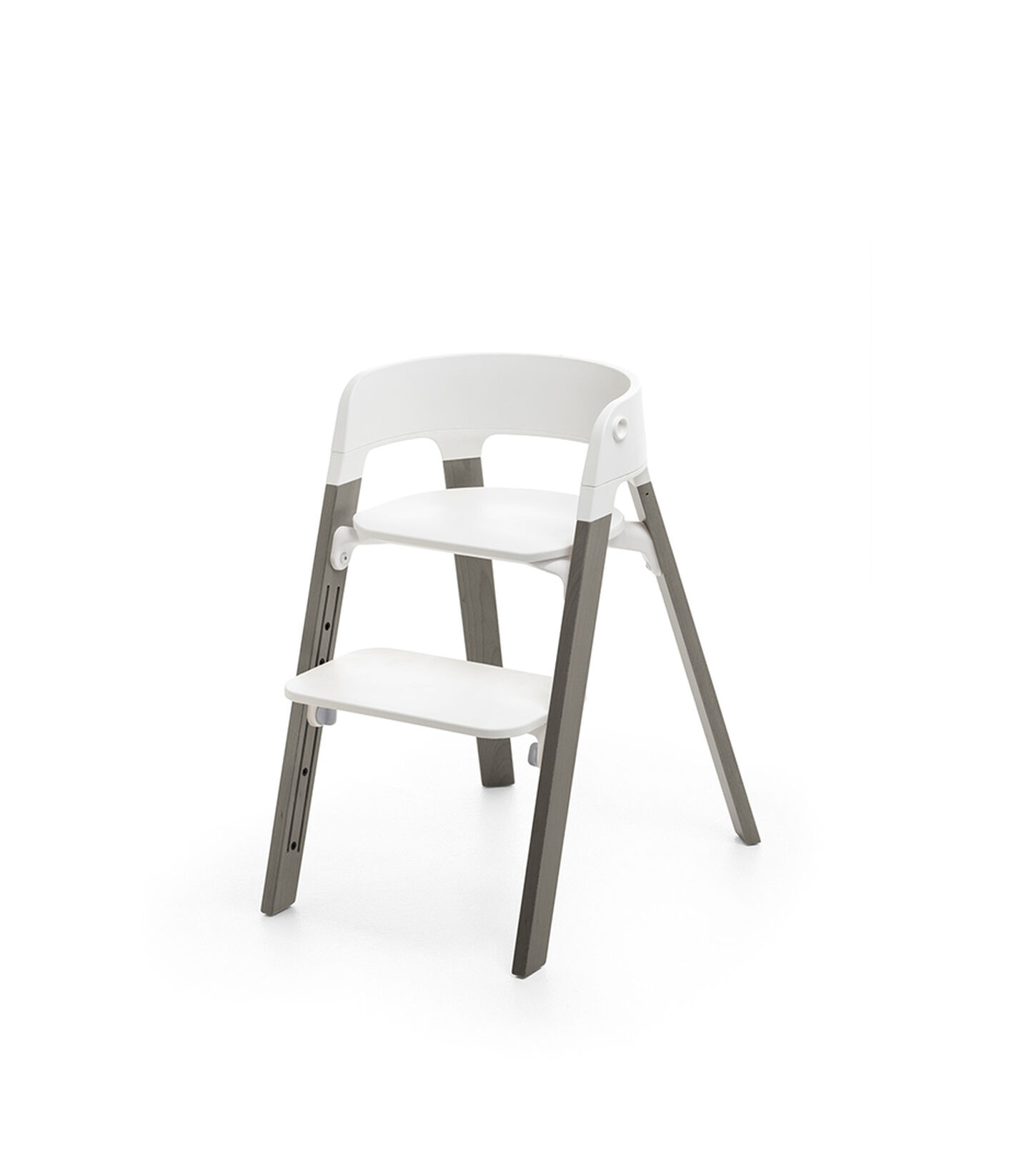 Stokke® Steps™ Hazy Grey  with white seat and footrest in high position.