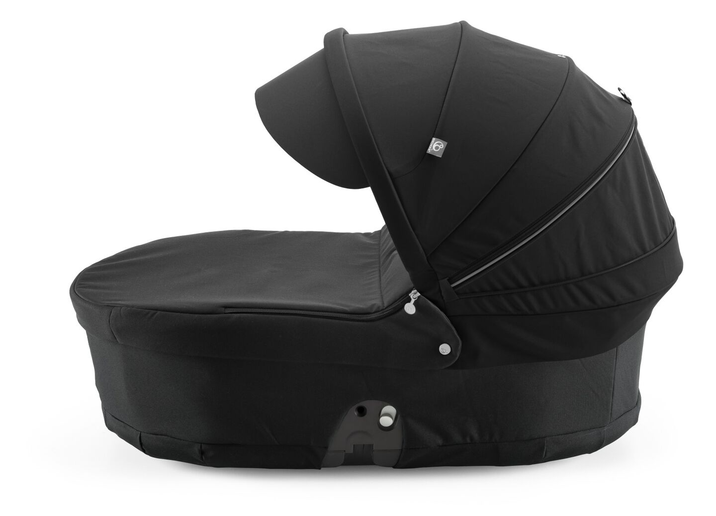 Stokke® Scoot™ Carry Cot, Black, with Black Canopy.