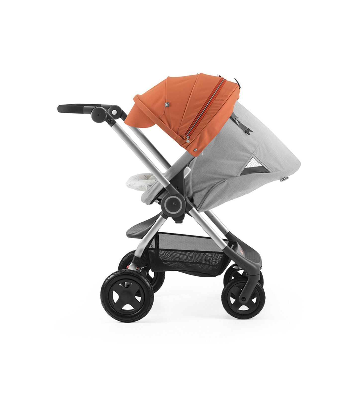 Stokke® Scoot™ with Grey Melange seat and Orange Canopy. Parent Facing. Sleep position.