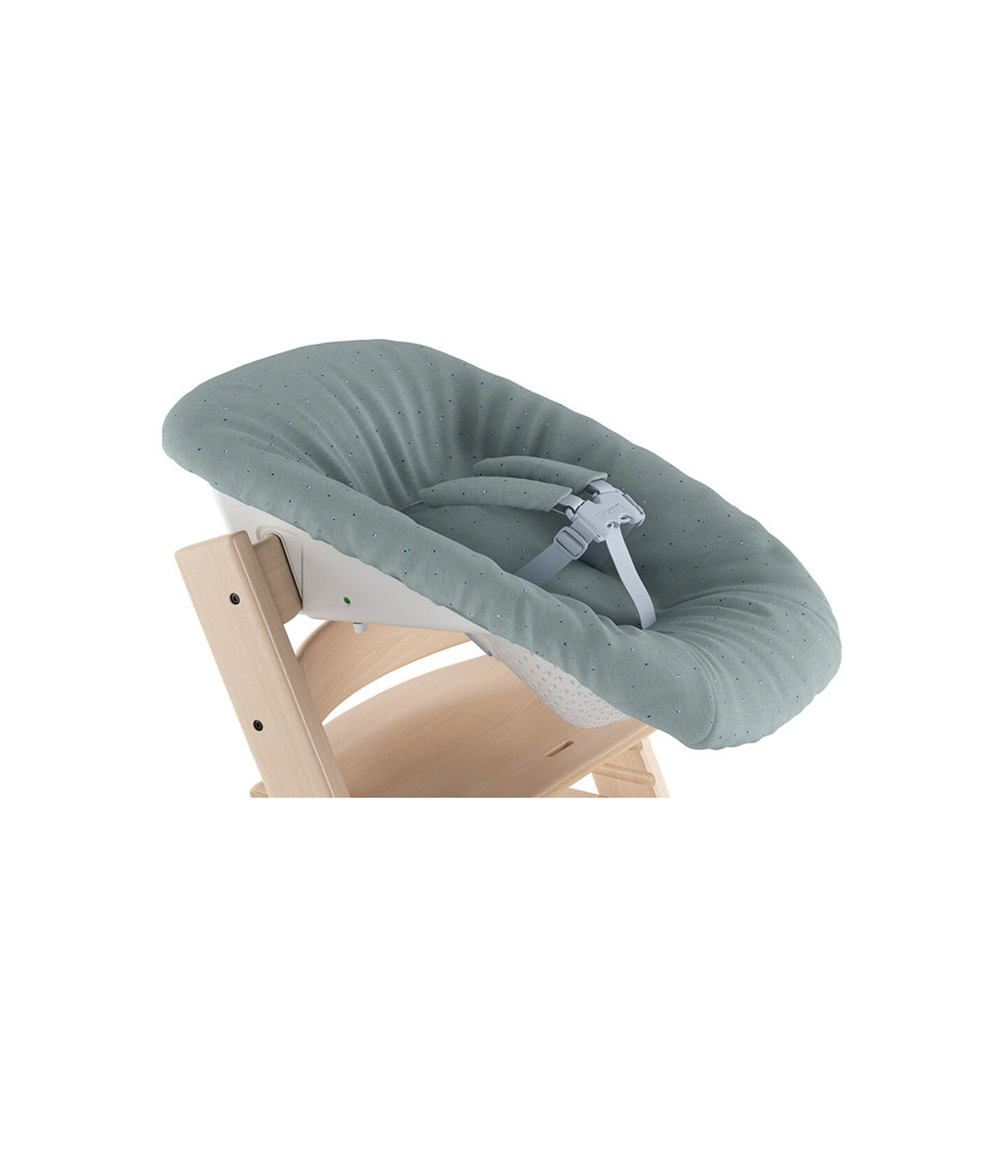 Tripp Trapp® Natural and Tripp Trapp® Newborn Set with Jade Confetti  textiles. Active position.