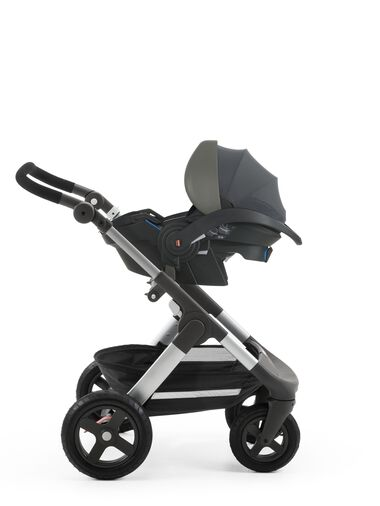 Stokke® iZi Go™ X1, Black and Stokke® Trailz™chassis.