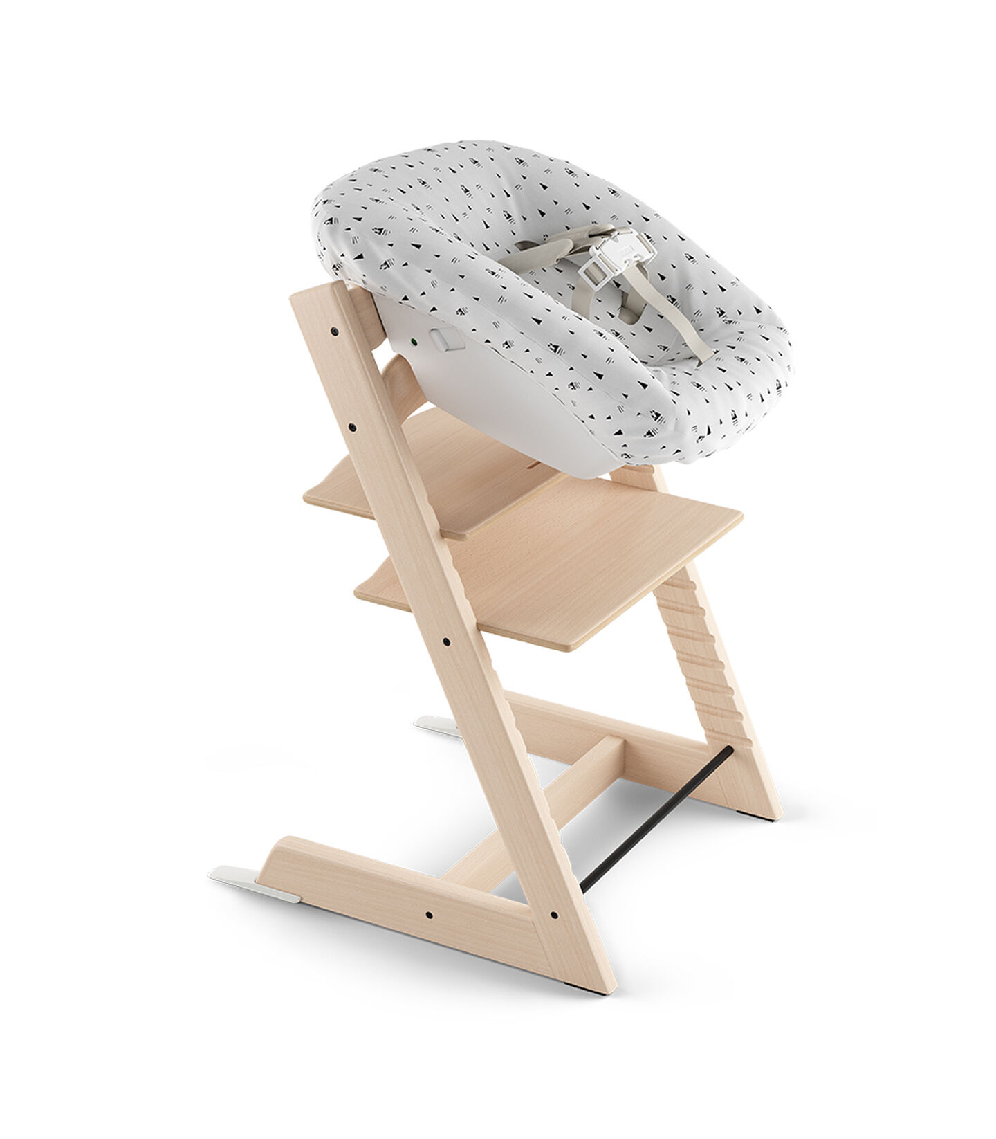 Tripp Trapp® Natural. Newborn Set with White Mountain textiles.