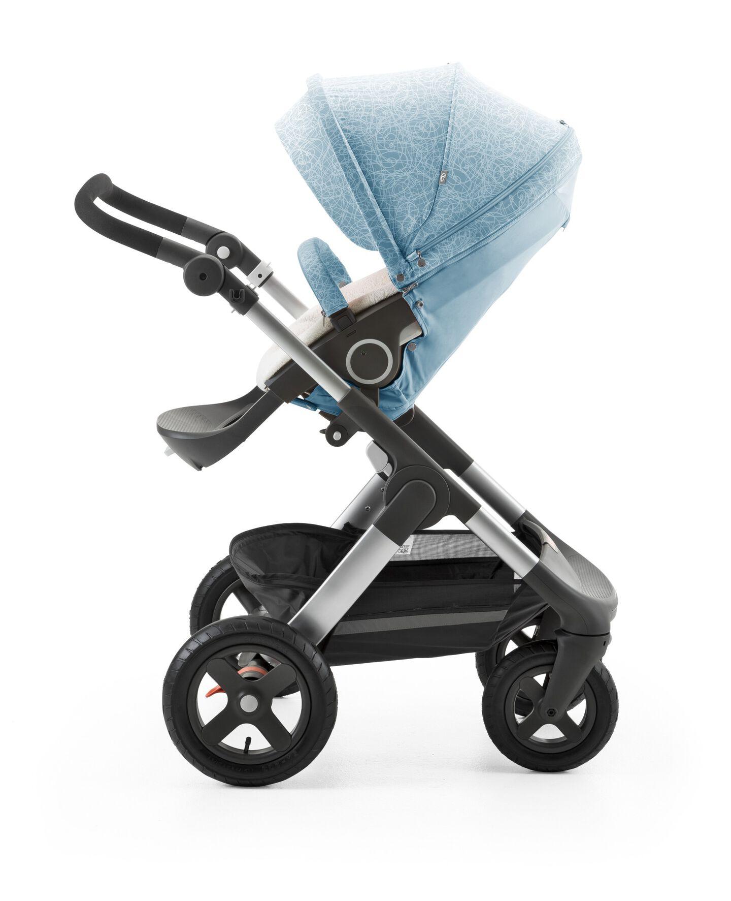 Stokke® Trailz™ with Stokke® Stroller seat and  Scribble Bluebell Blue Summer Kit