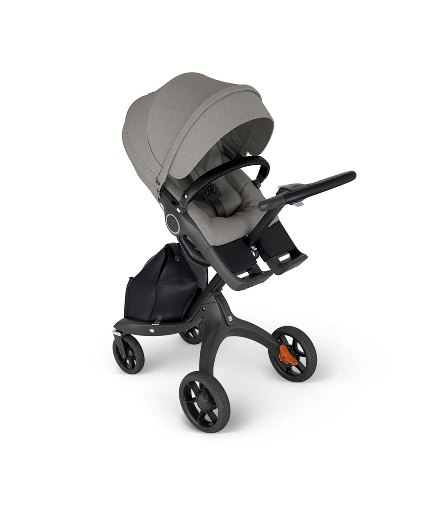 Stokke® Xplory® with Black Chassis and Leatherette Black handle. Stokke® Stroller Seat Brushed Grey in angled view.