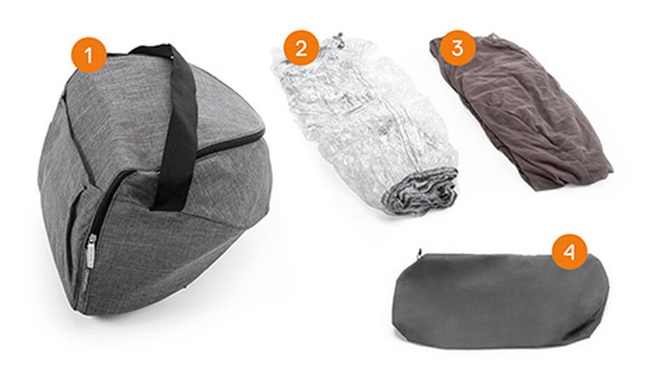Stokke® Xplory® Shopping Bag. Items included.