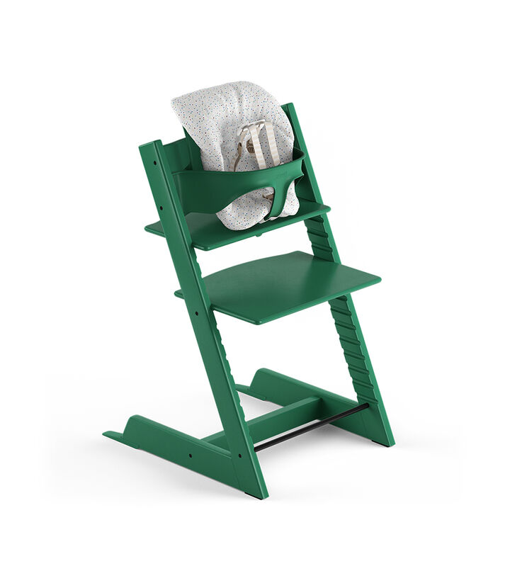 Tripp Trapp® Forest Green, Beech. With Tripp Trapp® Baby Set and Baby Cushion Soft Sprinkle. US version with Harness.