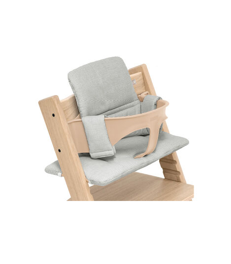 Tripp Trapp® chair Oak Natural, with Baby Set and Classic Cushion Nordic Grey. view 4