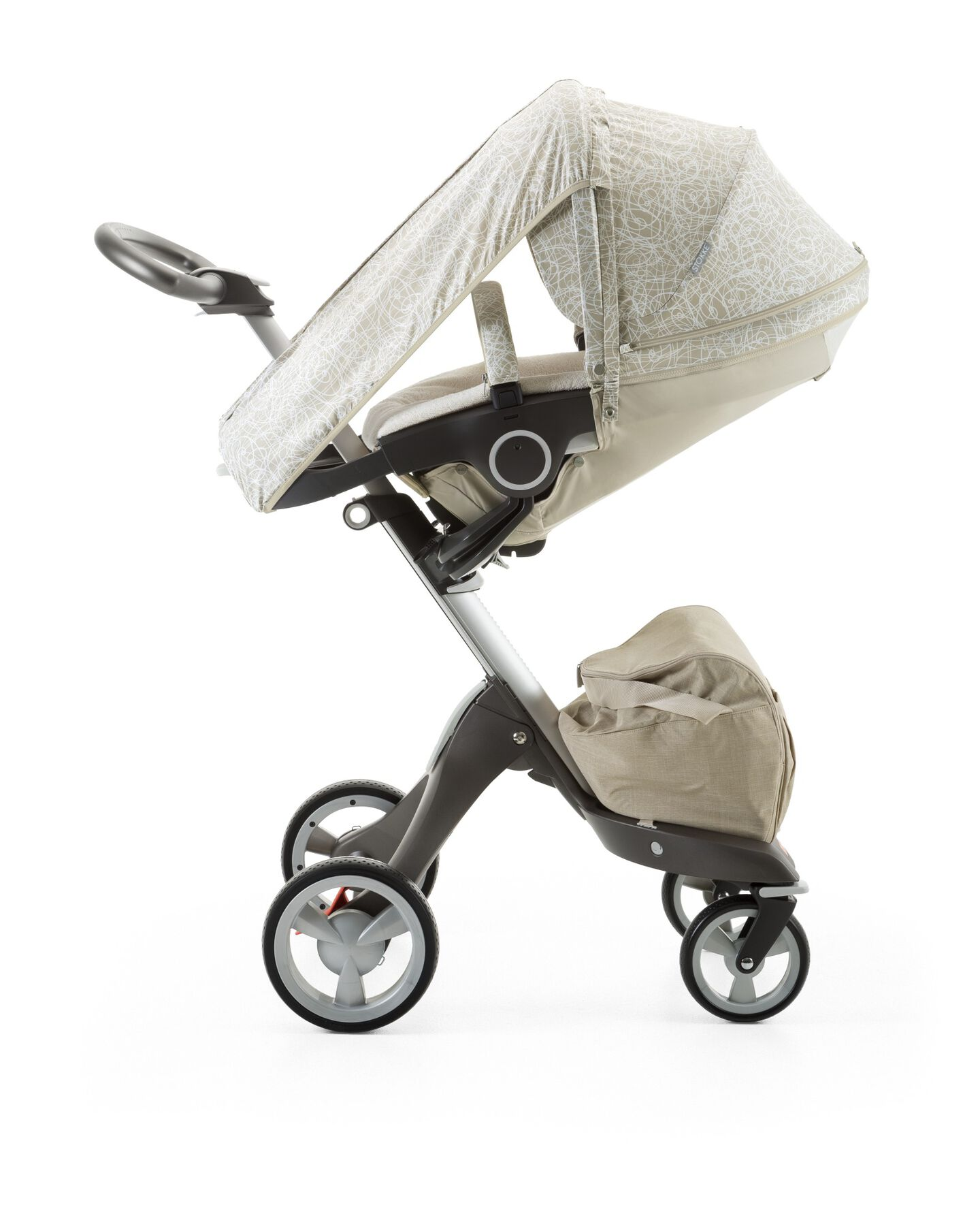 Stokke® Xplory® with Stokke® Stroller Summer Kit Scribble Sandy Beige.