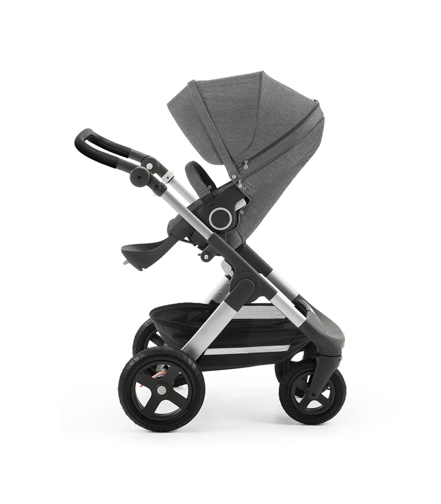 Stokke® Trailz™ with silver chassis and Stokke® Stroller Seat, Black Melange. Leatherette Handle. Terrain Wheels. view 2