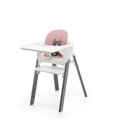 Stokke® Steps™ Storm Grey with White Seat BabySet, Tray and footrest. Pink Cushion.
