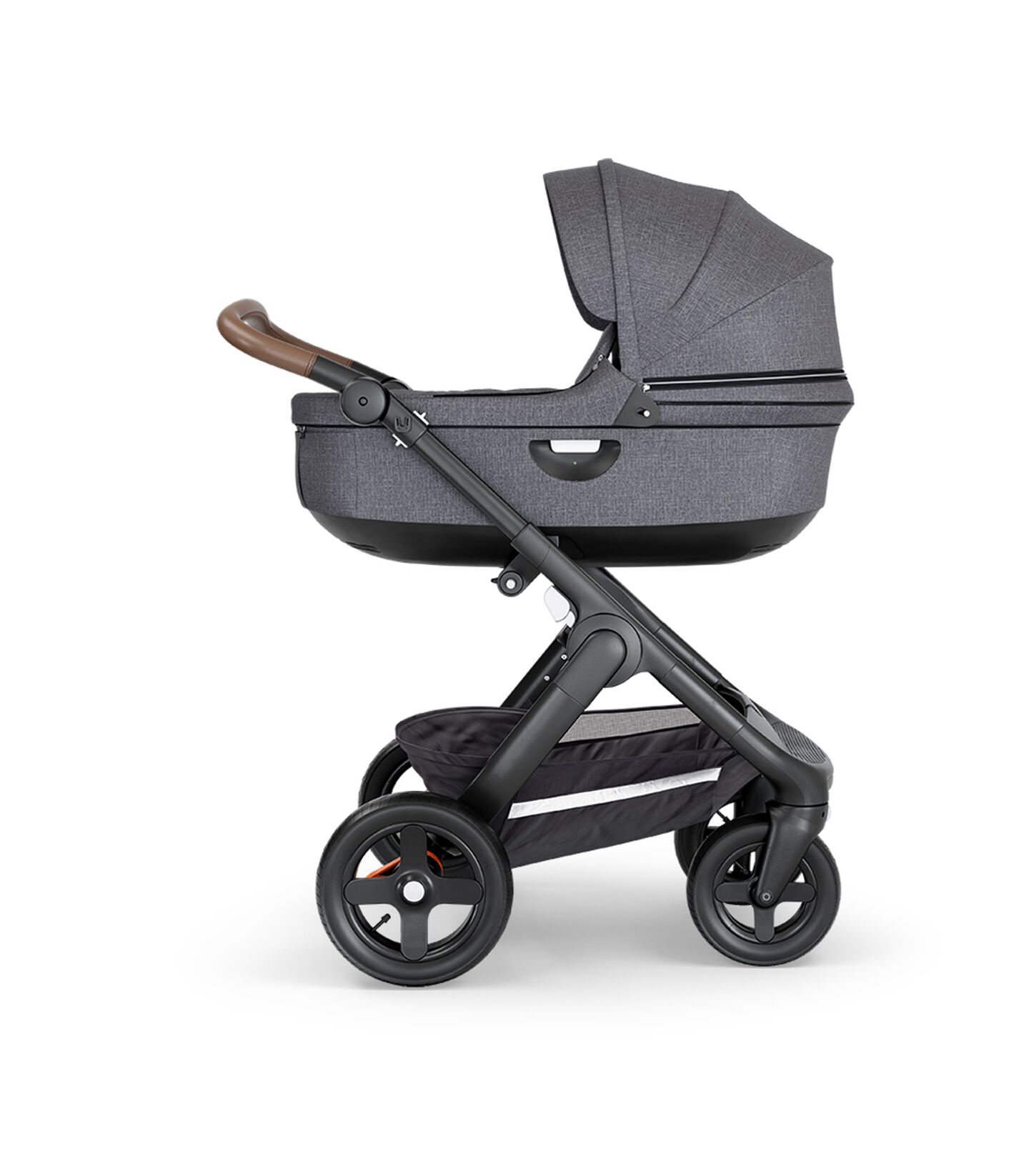 Stokke® Trailz™ with Black Chassis, Brown Leatherette and Terrain Wheels. Stokke® Stroller Carry Cot, Black Melange.