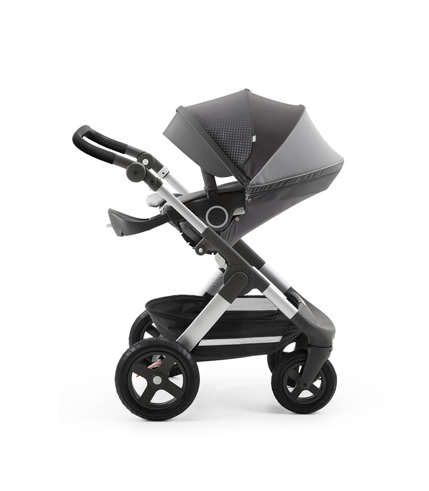 Stokke® Trailz™ with Silver Chassis and Stokke® Stroller Seat Athlesure Grey. Terrain Wheels.
