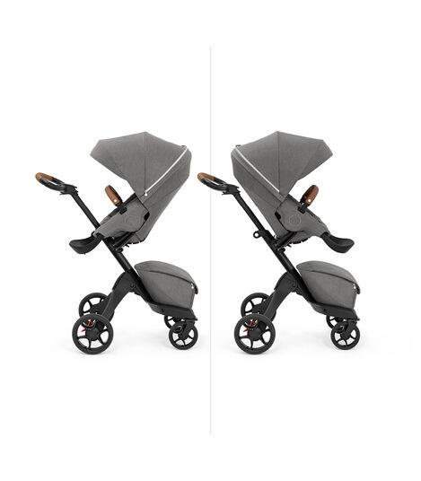 Stokke® Xplory X with seat, Modern Grey. Parent and forward facing. view 5
