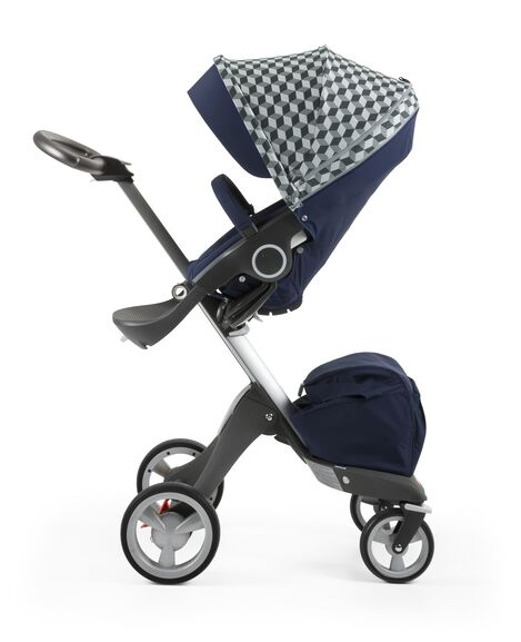 Stokke® Stroller Seat with Style Kit Grey Cube and Stokke® Xploy® chassis, Deep Blue.