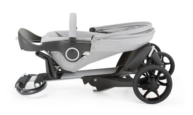 Stokke® Xplory® Chassis and Stokke® Stroller Seat, Grey Melange. New wheels 2016.