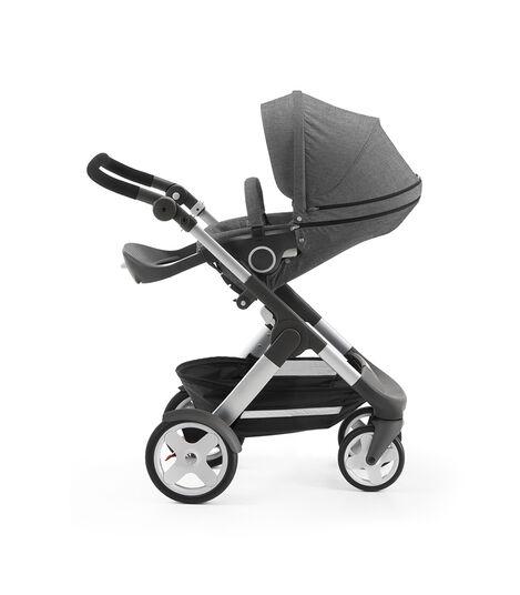 Stokke® Trailz with Stokke® Stroller Seat, parent facing, rest position. Black Melange. view 4