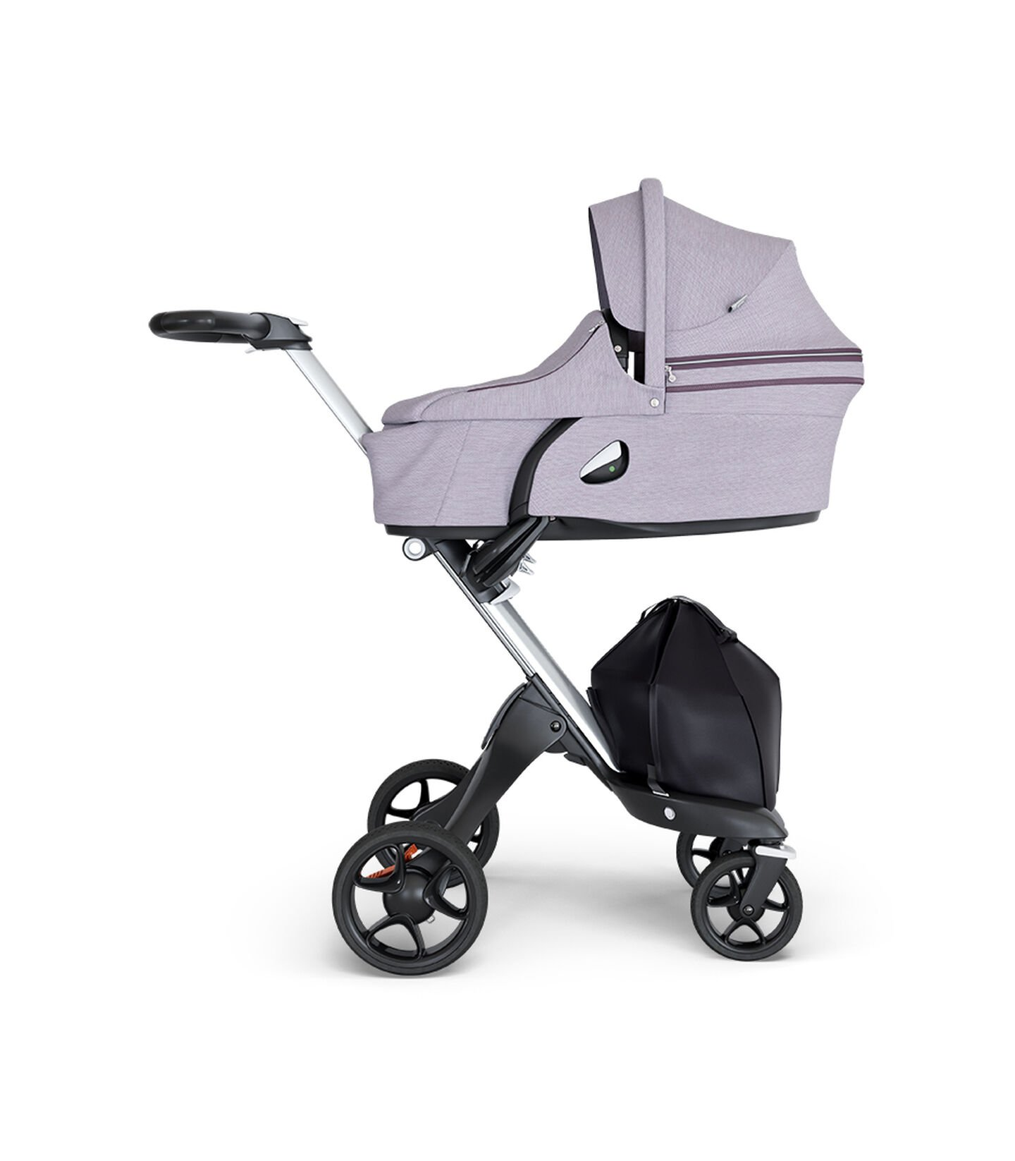 Stokke® Xplory® wtih Silver Chassis and Leatherette Black handle. Stokke® Stroller Carry Cot Brushed Lilac.