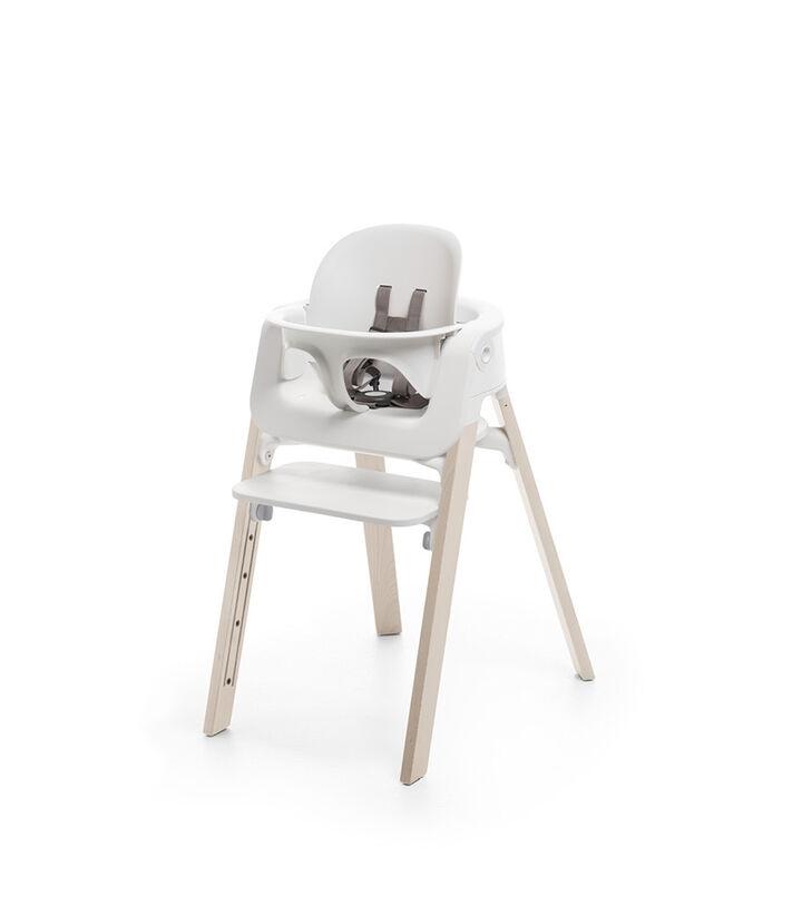 Stokke® Steps™ Whitewash highchair with Baby Set White.