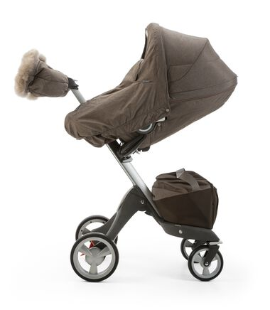 Stokke® Xplory® Seat with Winter Kit, Nougat Melange and Stokke® Xplory® Chassis, Brown.