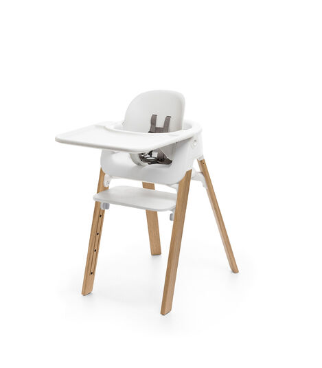 Stokke® Steps™ Chair Natural Legs with White, White Seat - Natural Legs, mainview view 5