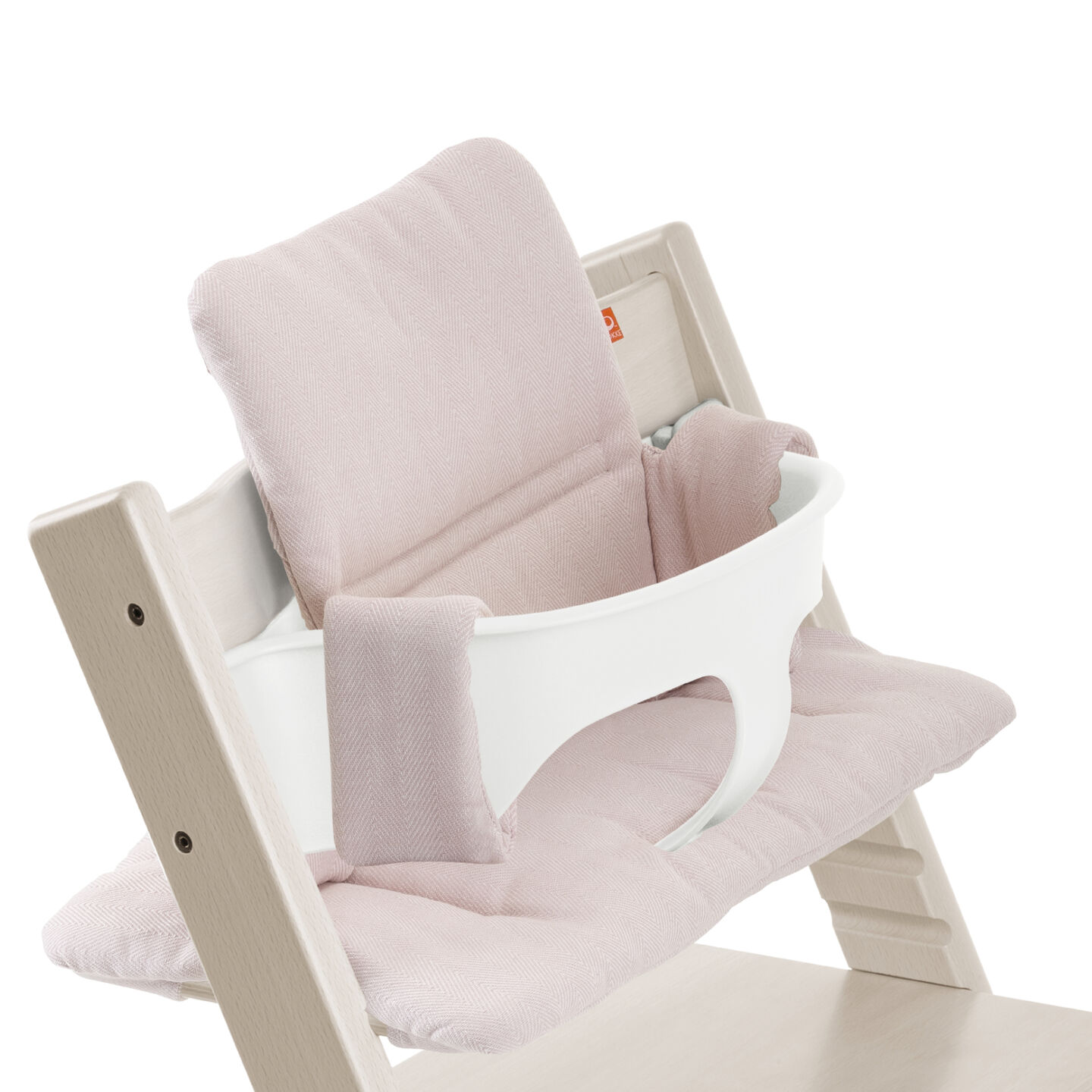 Tripp Trapp® Whitewash with Baby Set and Pink Tweed cushion. Detail.