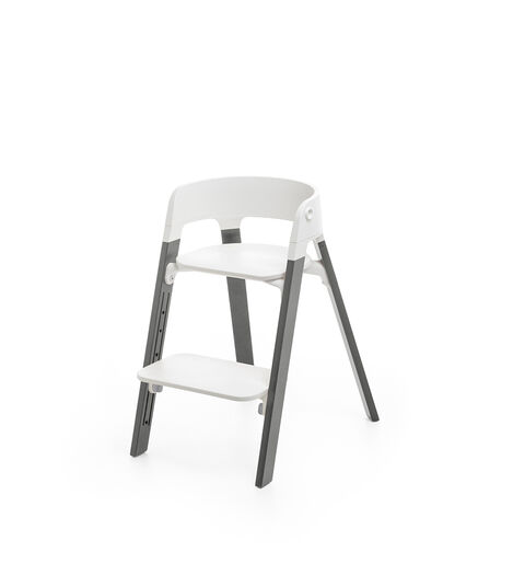 Stokke® Steps™ Chair White Seat Storm Grey Legs (stokke.com), Storm Grey, mainview view 2