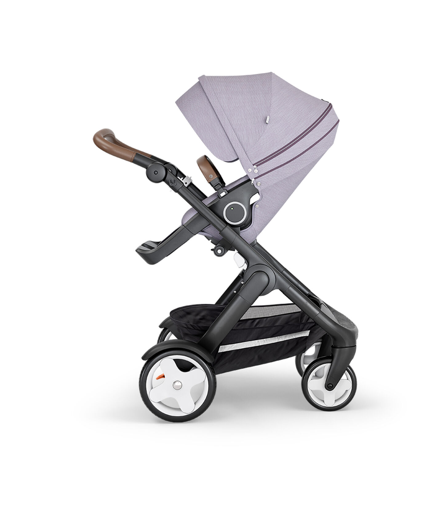 Stokke® Trailz™ with Black Chassis, Brown Leatherette and Classic Wheels. Stokke® Stroller Seat, Brushed Lilac. view 2