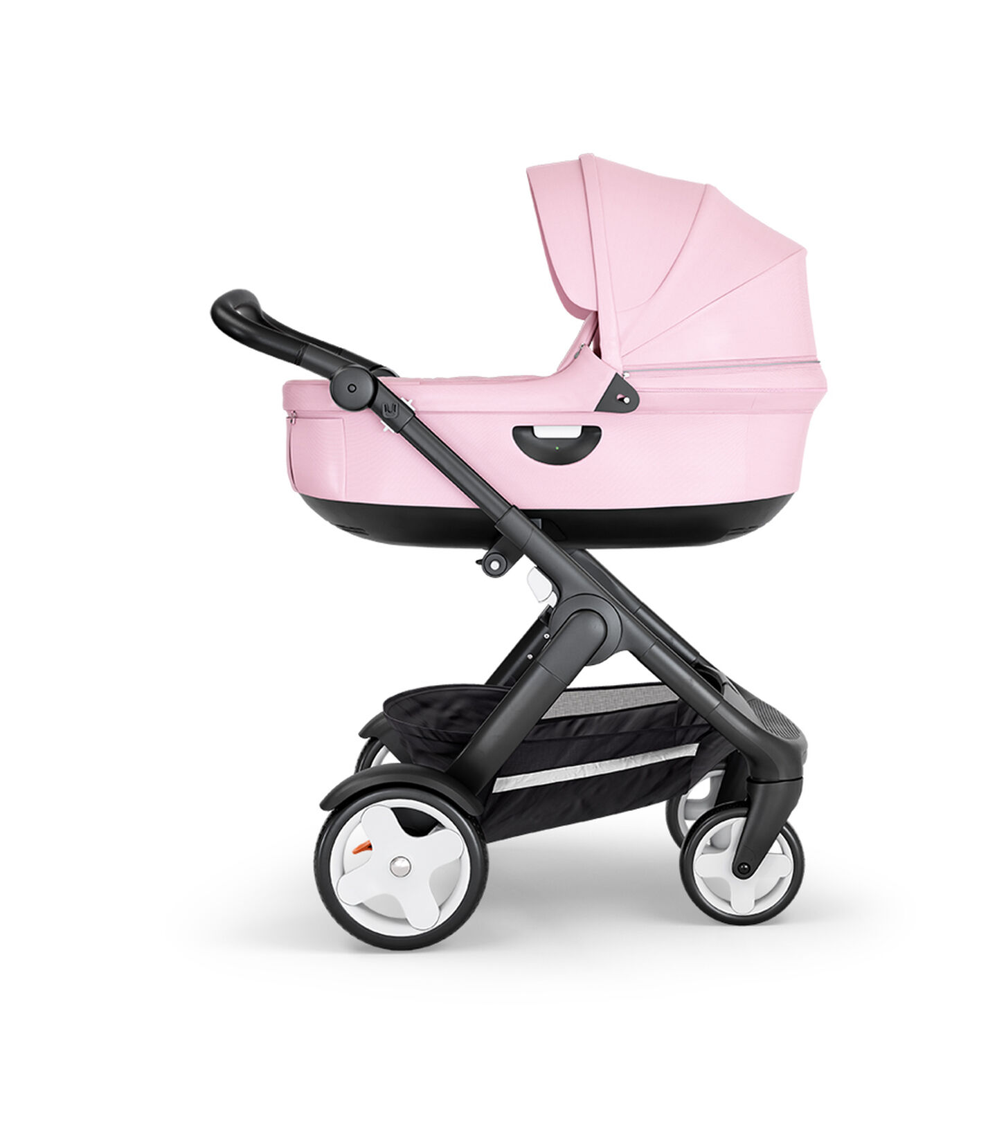 Stokke® Trailz™ with Black Chassis, Black Leatherette and Classic Wheels. Stokke® Stroller Carry Cot, Lotus Pink.