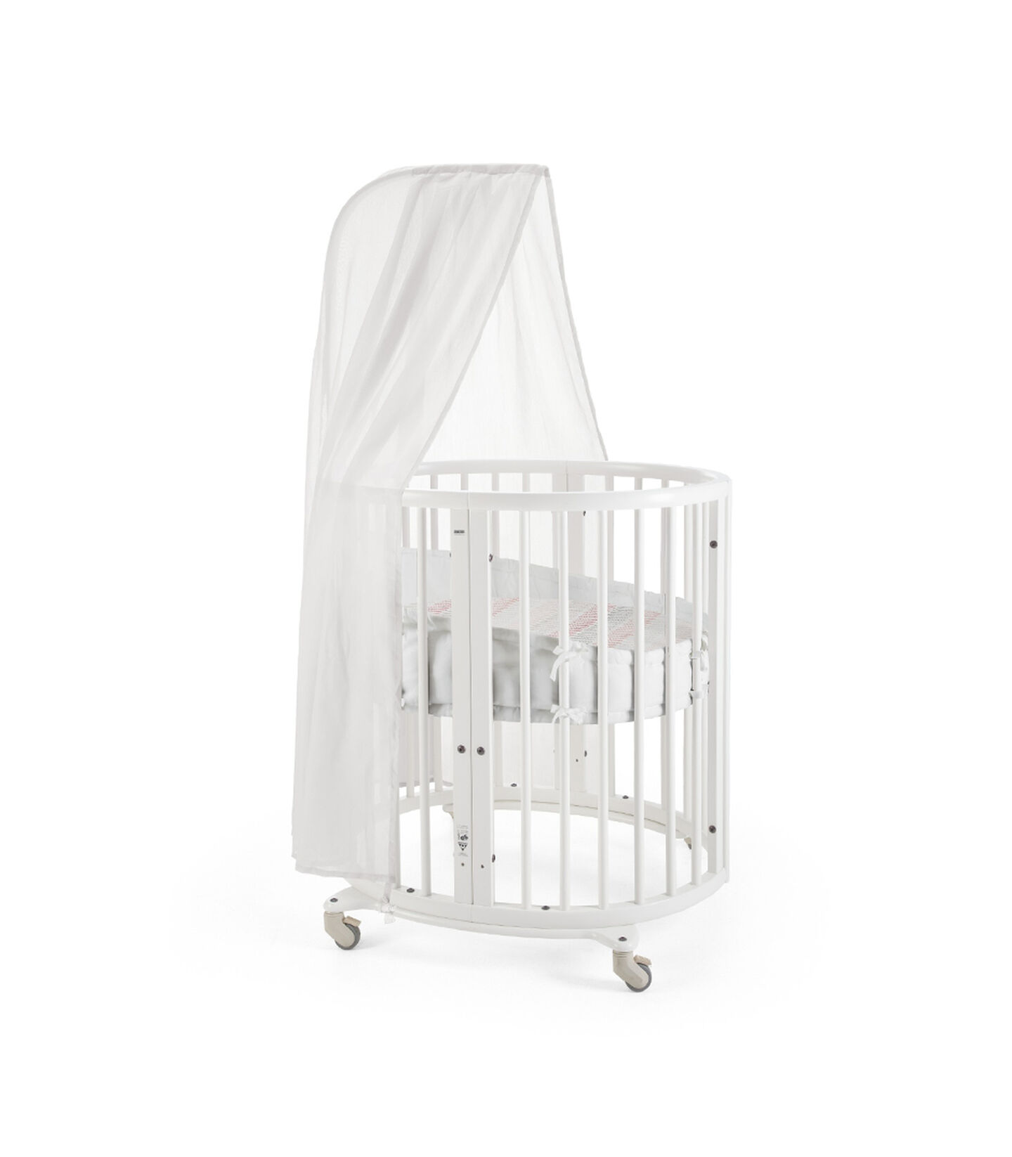 Stokke® Sleepi Mini, Natural. Canopy, Bumper and Fitted Sheet, Coral Straw. view 2