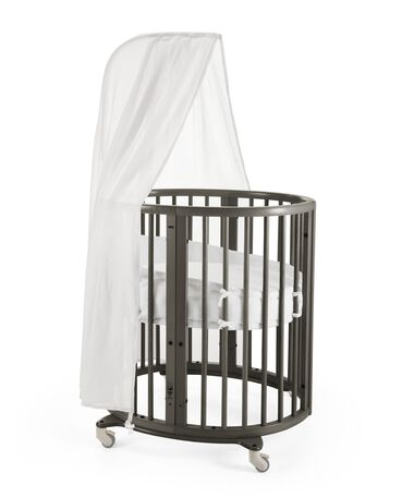 Stokke® Sleepi Mini, Hazy Grey. Canopy, Bumper and Fitted Sheet White.