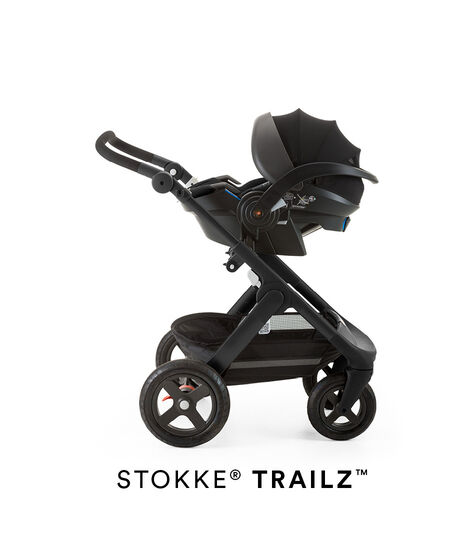 Stokke® iZi Go Modular™ X1 by Besafe®, Black. Mounted on Stokke® Trailz™.