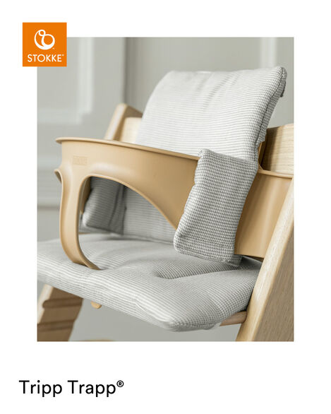 Tripp Trapp® Classic Cushion Nordic Grey on Oak Natural chair with Baby Set Natural view 13
