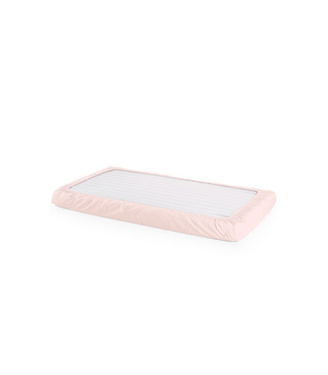 Stokke® Home™ Fitted Sheet. Pink Bee. Bottom side.