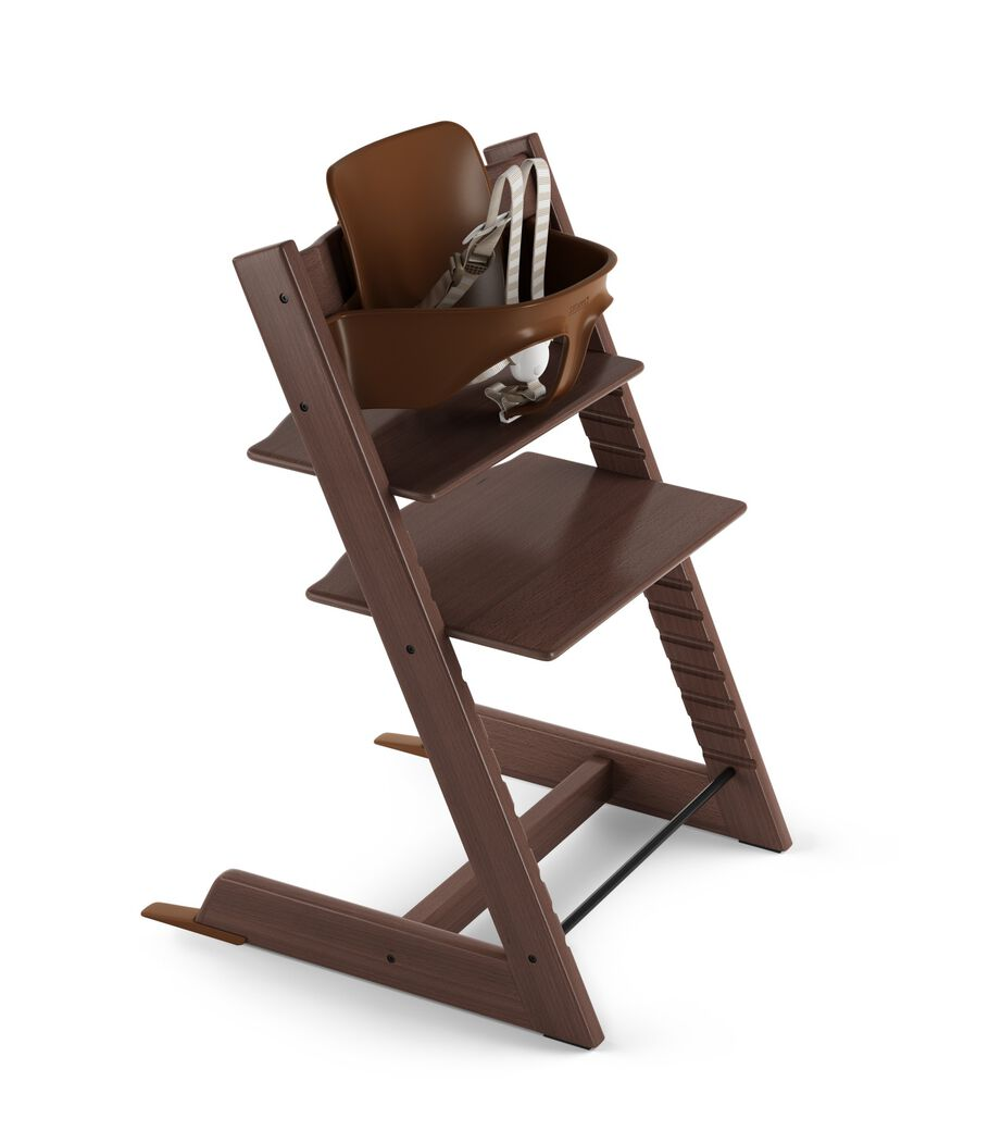 Tripp Trapp® Walnut Brown with Tripp Trapp® Baby Set, Plum Purple. US version. 3D rendering.