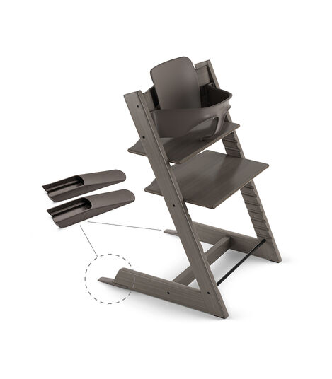 Tripp Trapp® Chair Hazy Grey, Beech, with Baby Set.