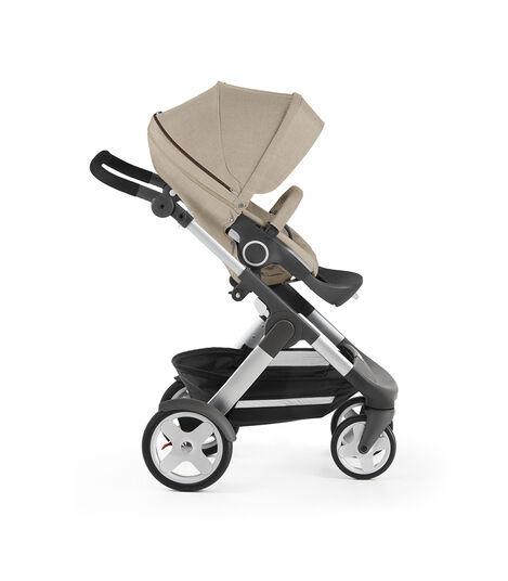 Stokke® Trailz with Stokke® Stroller Seat, forward facing, rest position. Beige Melange. view 5
