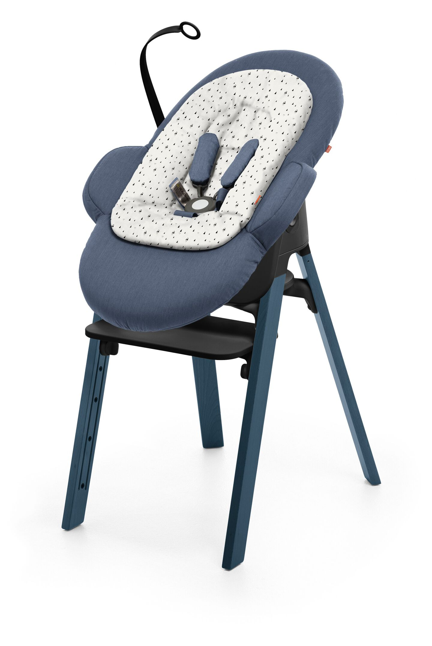 Stokke® Steps™ Midnight Blue with Black Seat and footrest. Bouncer Blue and White Mountain Newborn Insert.