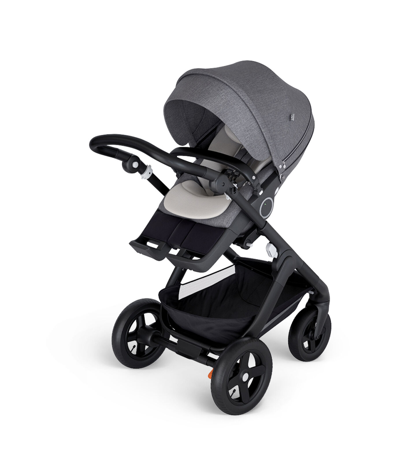 Stokke® Trailz™ with Black Chassis and Stokke® Stroller Seat Black Melange. Stokke® Stroller Seat Inlay, Mesh.